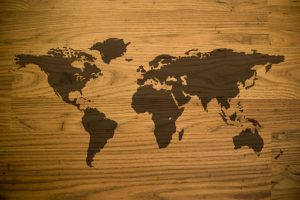Global Locator Systems | Wooden grained world map